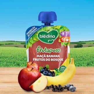 Blédina Frutapura Saqueta Maçã Banana Frutos do Bosque 90gr