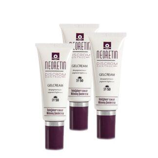 Neoretin Pack Gelcreme Despigmentante SPF50 3x40ml,emulsão de fácil extensibilidade e rápida absorção para o cuidado integral da pele envelhecida e com tendência ao aparecimento de manchas, cujos ingredientes atuam de forma concertada, em 3 frentes: