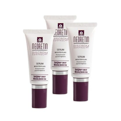 Neoretin Pack Sérum Despigmentante 3x30ml, fluido concentrado de rápida absorção para o cuidado intensivo da pele envelhecida e com tendência ao aparecimento de manchas. Com um conjunto de seis potentes ativos que intervêm nas diferentes fases da síntese da melanina, permitindo um controlo notável da pigmentação cutânea.