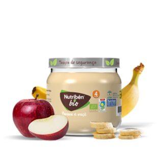 Nutribén BioBoiões Banana e Maçã, receita de frutas, com banana e maçã provenientes de agricultura biológica. Sobremesa de frutas gourmet para bebés a partir dos 4 meses de idade.