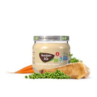 Nutribén BioBoiões Frango com Legumes, refeição gourmet para bebés a partir dos 4 meses de idade, elaborada com Frango de criação com alimentação biológica e seleção cuidada dos melhores legumes biológicos.