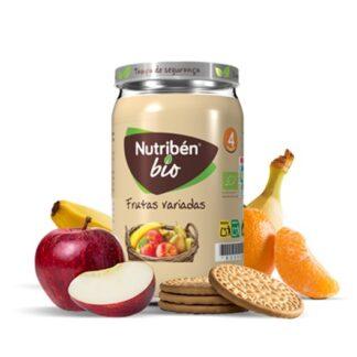Nutribén BioBoiões Frutas Variadas 235gr receita gourmet de frutas variadas, com banana, maçã, pera e sumo de laranja provenientes de agricultura biológica. Sobremesa de frutas gourmet para bebés a partir dos 6 meses de idade.