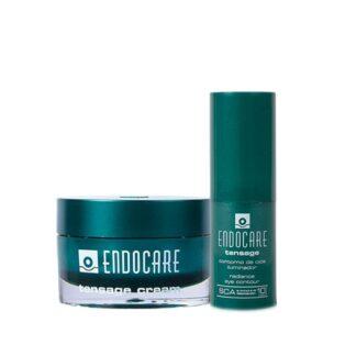 Endocare Pack Creme Tensor 50ml + Contorno de Olhos 15ml, Creme de rosto para a pele flácida, envelhecida, com manchas e sem luminosidade e um fluído específico para o contorno de olhos, reduzindo as olheiras, papos, falta de firmeza e rugas