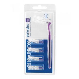 Curaprox Perio Plus CPS 408 5Un + Cabo e escovilhões para uso diário e limpeza cuidada e efectiva dos espaços interdentários, para uma limpeza completa da cavidade oral.