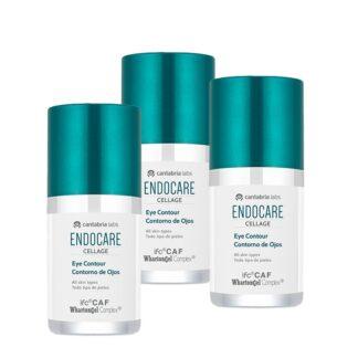 Endocare Pack Cellage Contorno de Olhos 3x15ml, creme para todos os tipos de pele, especificamente desenvolvido para esta zona particular do rosto, que prematuramente mostra sinais de envelhecimento. Com ações drenante, anti-papos e anti-olheiras.