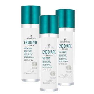 Endocare Pack Cellage Gelcreme Anti-envelhecimento 3x50ml, gelcreme numa textura ligeira, não oleosa e não comedogénica, adequado a todos os tipos de pele, nomeadamente a pele normal a oleosa.