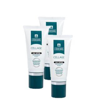 Endocare Pack Cellage Creme Anti-Envelhecimento 3x50ml, creme com uma textura rica e nutritiva, especificamente desenvolvido para a hidratação profunda e conforto da pele normal a seca.