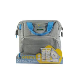 Klorane Bebé Saco de Maternidade Azul, saco de maternidade composto por um gel de limpeza suave, um creme hidratante, toalhetes de limpeza e pomada muda fralda ideias para a rotina de higiene e hidratação do seu bebé.