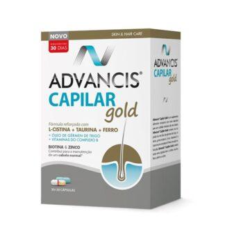 Advancis Capilar Gold 30+30 Cápsulas é um suplemento alimentar composto por duas cápsulas, com uma fórmula reforçada para o cuidado intensivo do seu cabelo.