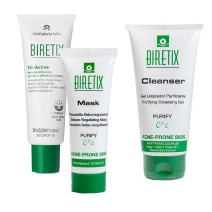 Biretix Pack Cleanser Gel 2 Un + Tri-Active Gel + Mask Máscara