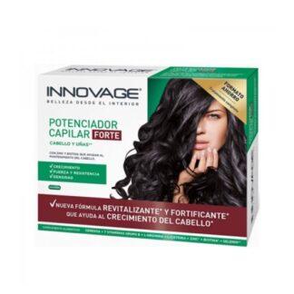 Innovage Potenciador Capilar Forte 30 Comprimidos, contém serenoa, uma planta que contribui para o crescimento natural do cabelo nos homens e ajuda a manter o seu próprio cabelo. Também contém Extrato de Linhaça rico em lignanas e L-arginina.