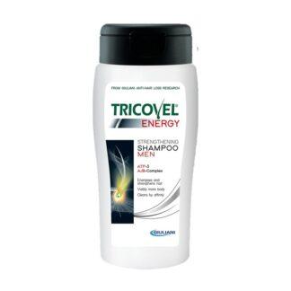 Tricovel Energy Champô Reforçante Homem 200ml, projetado para fortalecer o cabelo masculino e para atuar como um produto complementar ideal