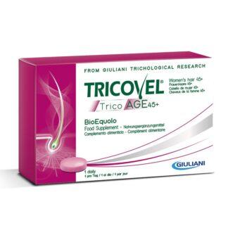 Tricovel TricoAGE 45+ BioEquolo 30 Comprimidos, fornece os nutrientes selecionados para combater o envelhecimento capilar nas mulheres que sofram de cabelos fracos, secos e opacos.