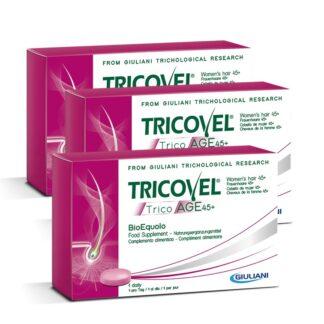 Tricovel TricoAGE 45+ BioEquolo 3x30 Comprimidos, fornece os nutrientes selecionados para combater o envelhecimento capilar nas mulheres que sofram de cabelos fracos, secos e opacos.