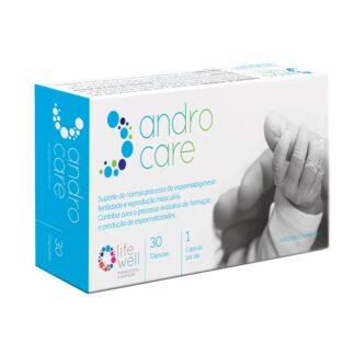 AndroCare 30 Cápsulas, desenvolvido para promover a fertilidade masculina. Contém micronutrientes específicos que demonstraram suportar a reprodução masculina e saúde espermática para casais que desejam engravidar.