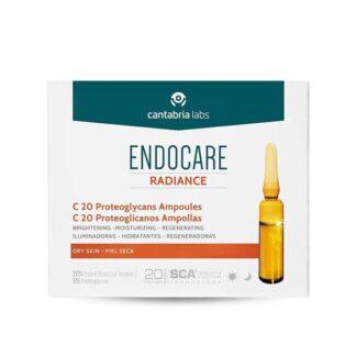 Endocare C20 Proteoglicanos 30 ampolas para o cuidado e prevenção do fotoenvelhecimento da pele normal a seca, que uniformizam o tom e recuperam a luminosidade da pele de forma imediata.