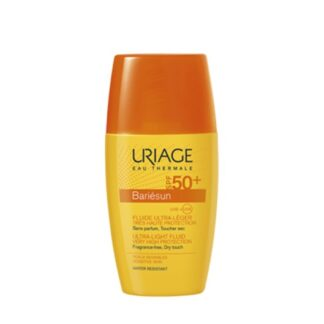 Uriage Bariesun Fluído Antimanchas SPF 50 15ml, especialmente desenvolvido para a pele sensível, este fluido sem fragrância fornece proteção muito alta contra os raios UVA e UVB e os radicais livres