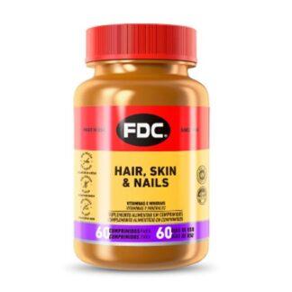 São micronutrientes essenciais para a saúde da pele, dos cabelos e das unhas. O FDC® Hair, Skin & Nails contém selénio e zinco que contribuem para a manutenção de cabelo e unhas normais e contém biotina, iodo e niacina que contribuem para a manutenção de uma pele normal