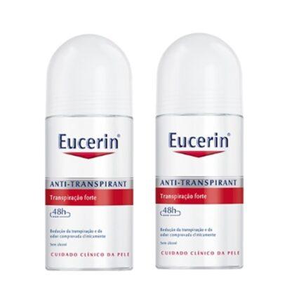 Eucerin Anti-Transpirante Roll-On Forte 48h 50 ml, esta fórmula sem álcool foi clinicamente testada para lhe oferecer 48 horas de protecção anti-transpiração,