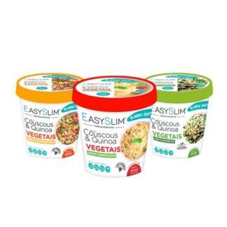 Easyslim Couscous & Quinoa Vegetais com Cogumelos contém proteínas que contribuem para a manutenção e crescimento d massa muscular, podendo ser utilizada no âmbito de um programa de perda de peso, de preferência acompanhado por uma nutricionista