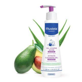 Mustela Gel Higiene íntima 200ml, especificamente concebido para a higiene diária da zona íntima com desconforto do bebé e da criança. Indicado para menina e menino.