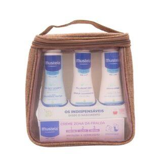 Mustela Indispensáveis de Viagem Rosa, bolsa composta pelo Gel lavante suave, hydra-bebé leite corporal,Água de limpeza e o creme muda fralda, em práticos formatos de viagem.