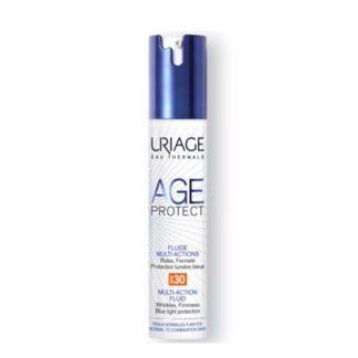 Uriage Age Protect Fluido Multi-Ações SPF30 40ml, este fluido de luz aperfeiçoador atua tanto nos sinais do envelhecimento quanto nos ataques diários que danificam a pele: luz azul, raios UV, poluição, estresse, fadiga