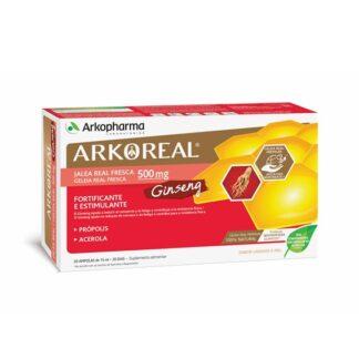 Arkoreal Geleia Real + Ginseng 20 Ampolas, ajuda no cansaço e na fadiga e contribui para a resistência física. Substância resinosa obtida pelas abelhas, é conhecido como um escudo natural da colmeia.