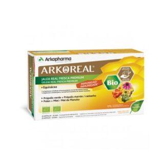Arkoreal Geleia Real Imunidade BIO 20 Ampolas, é um suplemento alimentar à base de Geleia Real, Equinácea, Própolis, Mel e Pólen.