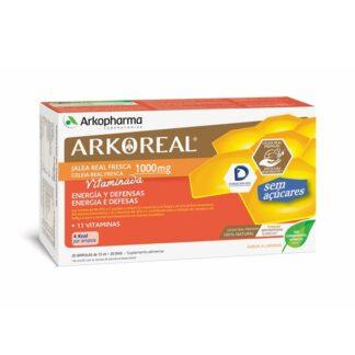 Arkoreal Geleia Real Vitaminada S/Açúcar 20 Ampolas, contribui para a manutenção de uma pele e uma visão normais, para o normal metabolismo dos macronutrientes e para o normal funcionamento do sistema nervoso, para a manutenção de ossos normais e para a manutenção do normal funcionamento muscular