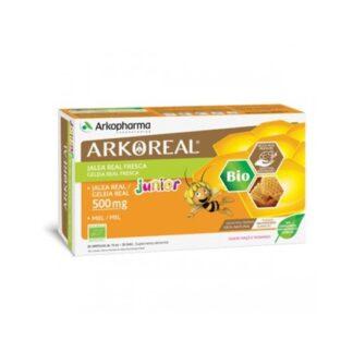 Arkoreal Geleira Real Junior 500mg Bio 20 Ampolas, suplemento alimentar à base de Geleia Real com sabor a maçã e morango.