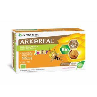 Arkoreal Geleira Real Junior 500mg Bio 20 Ampolas, suplemento alimentar à base de Geleia Real com sabor a maçã e morango