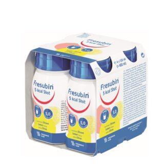 Fresubin 5Kcal Shot Limão 4x120ml, suplemento hipercalórico à base de emulsão de lipídios com blend exclusivo de TCL e TCM. Pacientes com déficit energético como os pacientes renais, pacientes com câncer, idosos entre outras situações clínicas