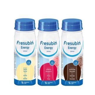 Fresubin Energy Drink Morango 4x200ml,suplemento Hipercalórico e Normoproteico. Risco nutricional ou desnutrição leve, idosos frágeis e cirurgia de bucomaxilo.