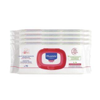 Mustela Toalhetes Limpeza Sem Perfume 4x70 Un, limpam suavemente as mãos, rosto e zona da fralda, desde o nascimento. Protegem o capital vida da pele do bebé desde hoje e para amanhã.