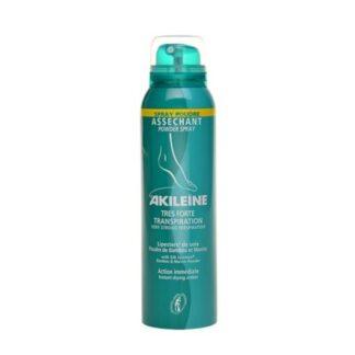 Akileine Spray Pó-Absorvente 150ml, o Spray de Pó-Absorvente Akileïne® seca os pés desde a primeira aplicação e protege-os, formando uma película protetora contra as frições