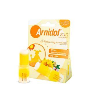 Arnidol Sun Stick SPF50+ 15gr,combina as flores de arnica e a manteiga de Karité, com filtros solares minerais com efeito barreira inmediato e não passíveis de absorção através da pele