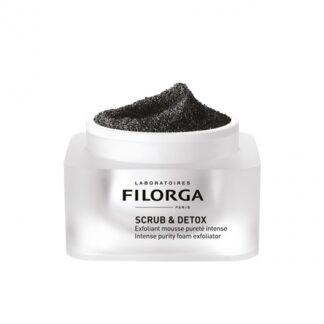 Filorga Scrud & Detox Mousse Esfoliante 50ml, mousse esfoliante purificação intensiva, dupla ação desintoxica intersamente e revela uma pele nova em apenas 5 minutos