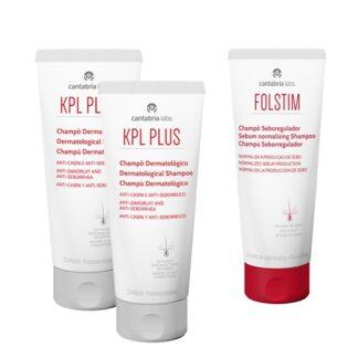 KPL Champô Anti-Caspa 2x200ml - Oferta Folstim Seboregulador 200ml, higiene do cabelo e couro cabeludo seborreico e pruriginoso, com rápido alívio do prurido e eritema e controlo da descamação.