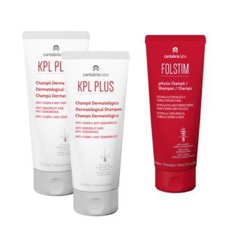 KPL Plus Champô Anti-Caspa 2x200ml - Oferta Folstim Physio 200ml, higiene do cabelo e couro cabeludo seborreico e pruriginoso, com rápido alívio do prurido e eritema e controlo da descamação.
