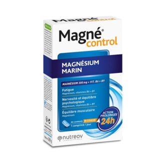 Magné Control fornece 300 mg de magnésio e 100% do valor de referência em vitaminas B6 e B9.