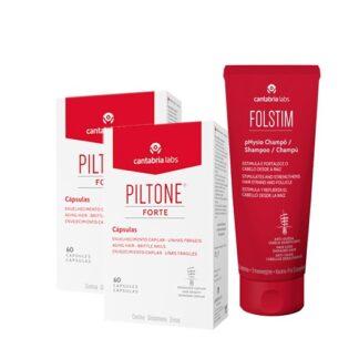 Piltone Forte 2x60 Cápsulas - Oferta Folstim Physio 200ml para a queda do cabelo de qualquer origem, particularmente na devida a carências nutricionais.