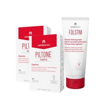 Piltone Forte 2x60 Cápsulas - Oferta Folstim Seboregulador 200ml para a queda do cabelo de qualquer origem, particularmente na devida a carências nutricionais.