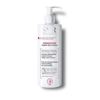 SVR Sensifine Dermo-Nettoyant 400ml, cuidado de limpeza e desmaquilhante intensivo. Rosto, olhos e lábios. Para pele sensível, intolerante, e polialérgica. Rosto, olhos e lábios.