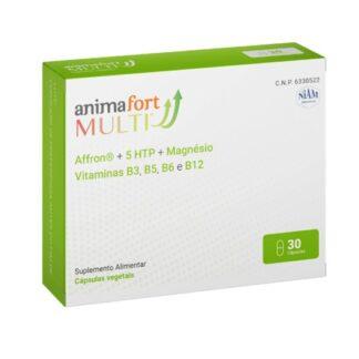 AnimaFort Multi 30 cápsulas suplemento alimentar que ajuda a superar situações de ansiedade, stress ou angústia. A sua fórmula única é à base de Affron® e 5-HTP, dois nutrientes que lhe ajudam a dar um estado de ânimo positivo.