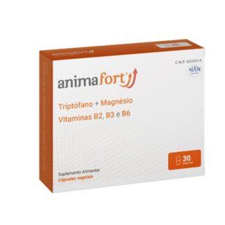Animafort 30 Cápsulas suplemento alimentar de origem vegetal cuja fórmula é à base de L-Triptófano que ajuda a conseguir a tranquilidade mental em pessoas que atravessam por etapas complicadas. Também ajuda em caso de insónia leve.