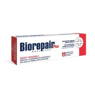 Biorepair Plus Pasta Dentes Sensíveis 75ml pasta dentífrica para dentes sensíveis. Reduz a sensibilidade dentária deste a 1ª aplicação. Sabor neutro