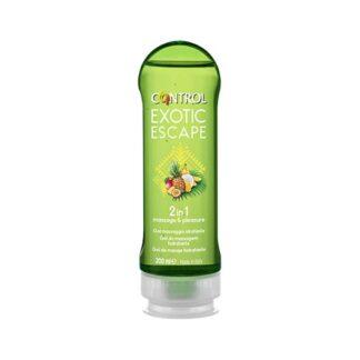 Control 2 in 1 Exotic Escape Gel de Massagem 200 ml, a magia de uma noite envolve momentos de prazer graças ao Exotic Escape, o novo gel de massagem 2 em 1 com um aroma exótico como os frutos da América do Sul.
