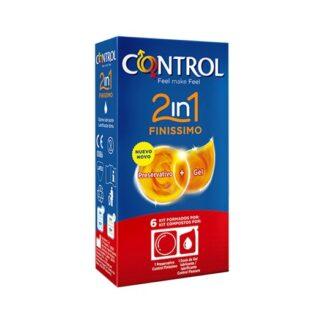 Control Finíssimo 2in1 Preservativos + Gel 6 preservativos + 6 doses de lubrificante pensado para quem procura emoções intensas nos momentos de prazer, 2in1 Finissimo é único pois, no momento da relação, o prático kit oferece a sensibilidade de um preservativo Finissimo e a ação lubrificante do gel Nature.