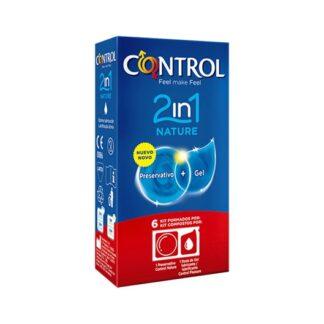 Control Nature 2in1 Preservativos + Gel 6 preservativos + 6 doses de lubrificante. Prático e pronto a usar, 2 in 1 Nature é o kit dedicado aos momentos de prazer. Cada pacote contém um preservativo Control Nature e uma dose de gel lubrificante Control Nature